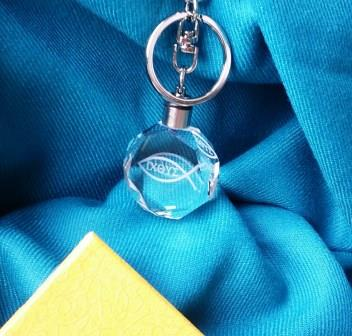 水晶鑰匙圈-耶穌魚(有字)