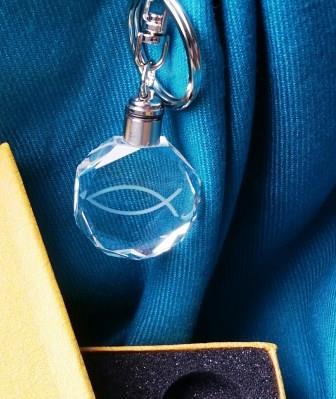 水晶鑰匙圈-耶穌魚