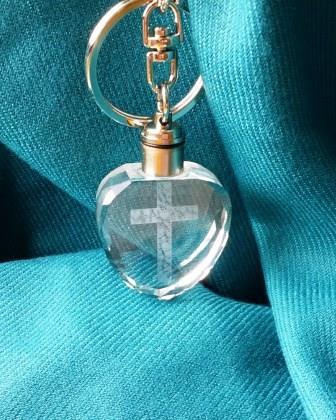 水晶鑰匙圈-十字架愛