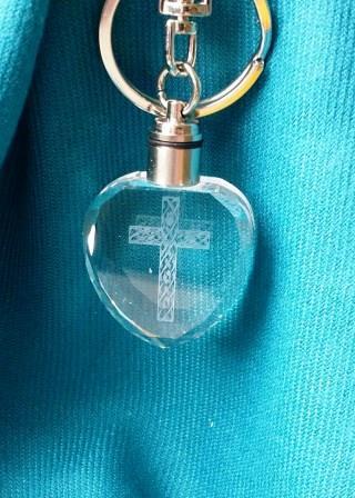水晶鑰匙圈-格網十字架